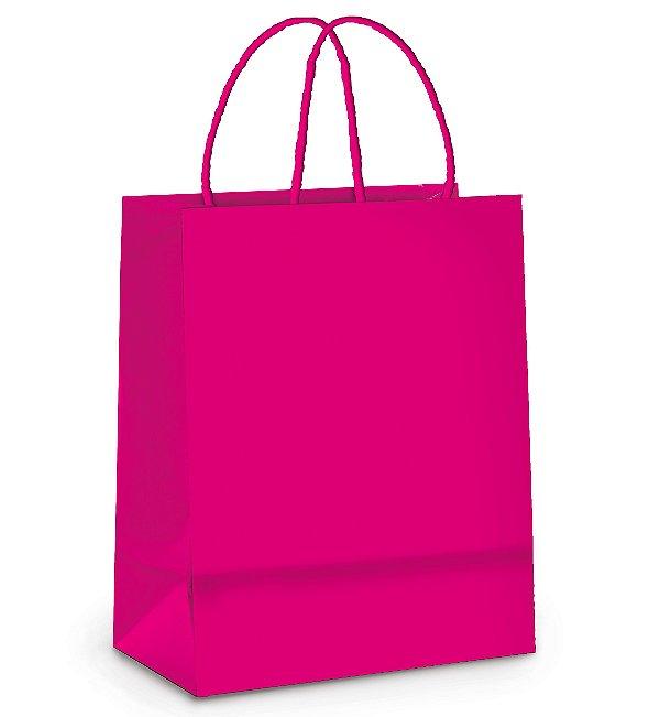Sacola de Papel M 26x19,5x9,5cm - Pink - 10 unidades - Cromus - Rizzo Embalagens