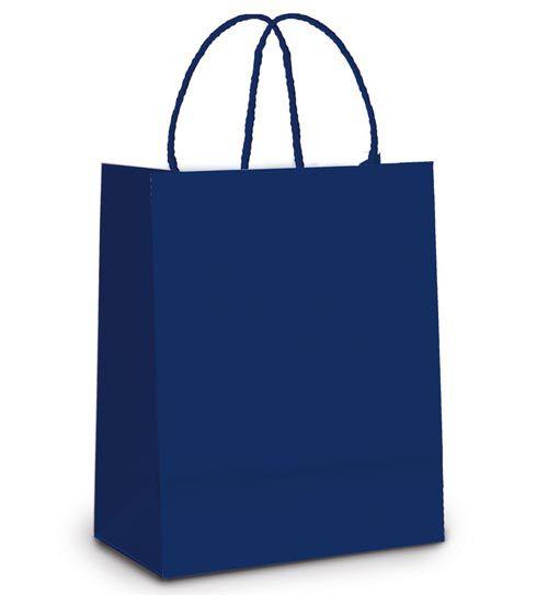 Sacola de Papel M 26x19,5x9,5cm - Azul Marinho - 10 unidades - Cromus - Rizzo Embalagens