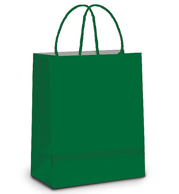Sacola de Papel M 26x19,5x9,5cm - Verde Bandeira - 10 unidades - Cromus - Rizzo Embalagens