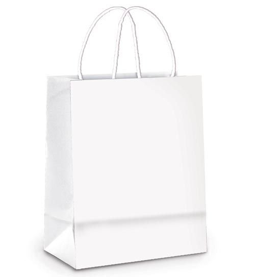 Sacola de Papel P 21,5x15x8cm - Branco - 50 unidades - Cromus - Rizzo Embalagens