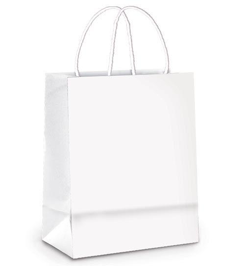 Sacola de Papel M 26x19,5x9,5cm - Branco - 50 unidades - Cromus - Rizzo Embalagens