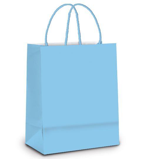 Sacola de Papel GG 39x32x16cm - Azul Bebê- 10 unidades - Cromus - Rizzo Embalagens