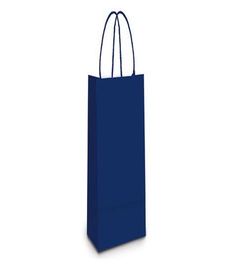 Sacola de Papel Garrafa 35x13x8cm - Azul Marinho - 10 unidades - Cromus - Rizzo Embalagens