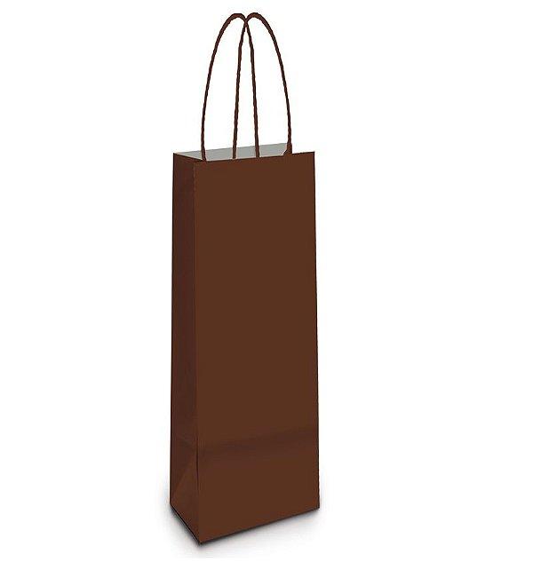 Sacola de Papel Garrafa 35x13x8cm - Marrom - 10 unidades - Cromus - Rizzo Embalagens