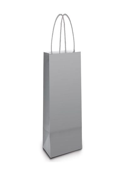 Sacola de Papel Garrafa 35x13x8cm - Prata - 10 unidades - Cromus - Rizzo Embalagens