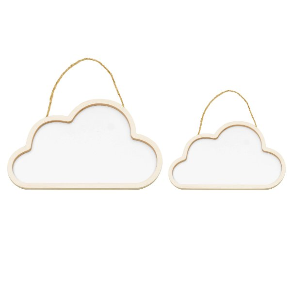 Conjunto Nuvens De Madeira Branco - Cromus - Rizzo Festas