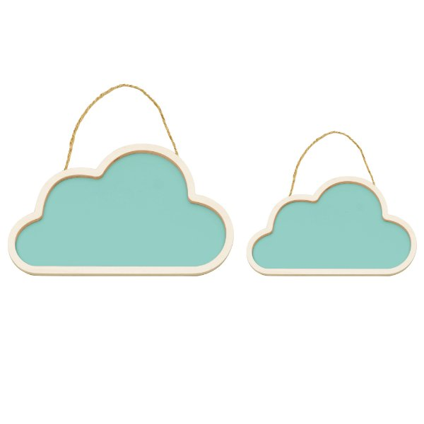 Conjunto Nuvens De Madeira Azul - Cromus - Rizzo Festas