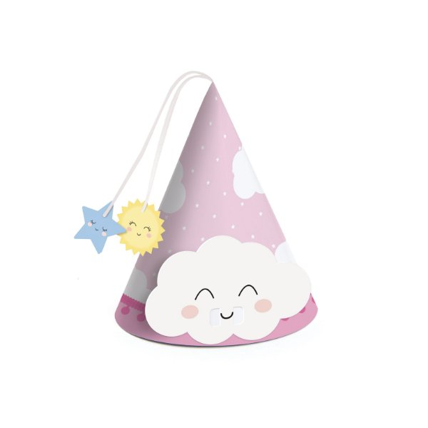 Mini Chapéu Festa Pedacinho Do Céu Rosa - 8 unidades - Rizzo Festas