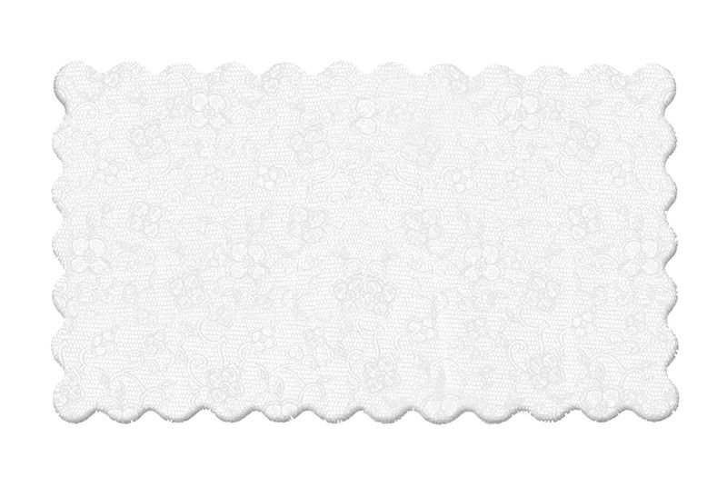 Fundo Rendado Retangular Branco 35x16cm - 100 unidades - Cromus - Rizzo Embalagens