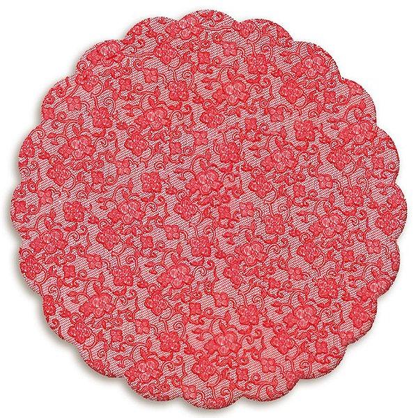 Fundo Rendado Redondo Vermelho 9cm - 100 unidades - Cromus - Rizzo Embalagens