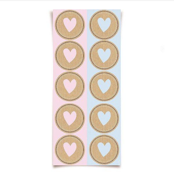 Adesivo Redondo Coração para Lembrancinha Festa Chá Revelação - 30 unidades - Cromus - Rizzo Festas