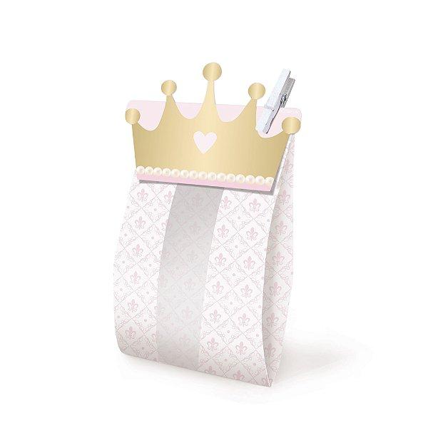 Kit Saquinho com Prendedor Lembrancinha Festa Reinado da Princesa - 8 unidades - Cromus - Rizzo Festas