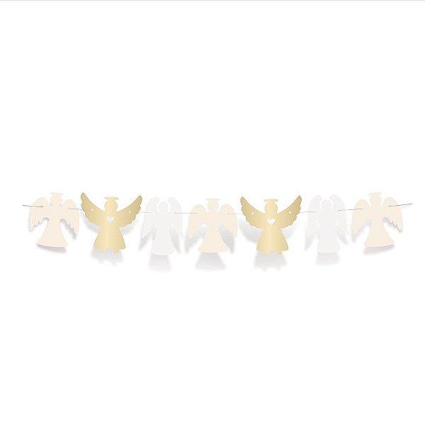 Faixa Decorativa Anjos Festa Batizado - Cromus - Rizzo Festas