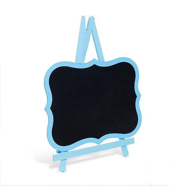Lousa para Personalizar Cavalete com Borda Azul Claro M - 01 unidade - Cromus - Rizzo Festas