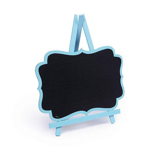 Lousa para Personalizar Cavalete com Borda Azul Claro G - 01 unidade - Cromus - Rizzo Festas