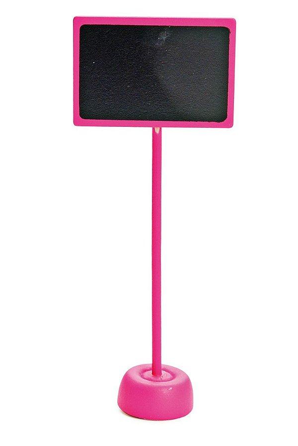 Lousa para Personalizar Retangular com Apoio Pink - 01 unidade - Cromus - Rizzo Festas