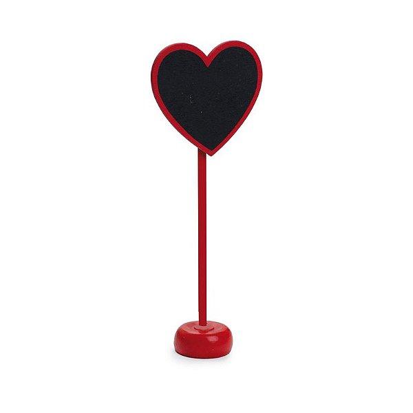 Lousa para Personalizar Coração com Apoio Vermelho - 01 unidade - Cromus - Rizzo Festas