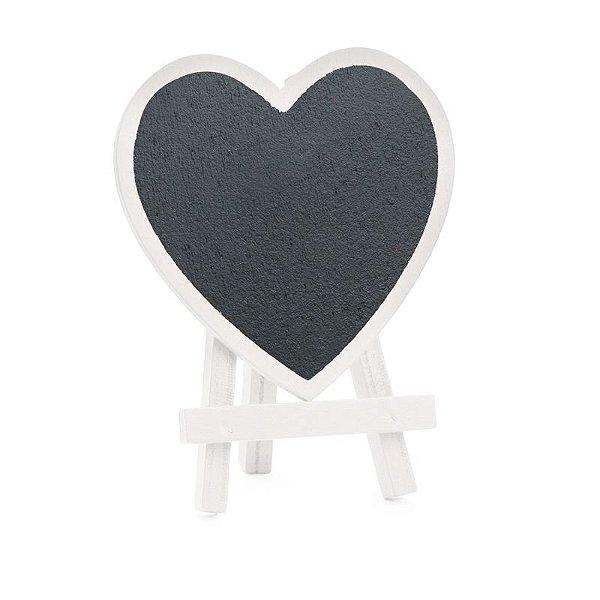 Lousa para Personalizar Mini Cavalete Coração Branco - 03 unidades - Cromus - Rizzo Festas