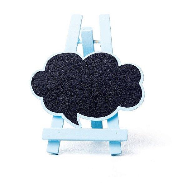 Lousa para Personalizar Mini Cavalete Balão de Pensamento Azul - 03 unidades - Cromus - Rizzo Festas