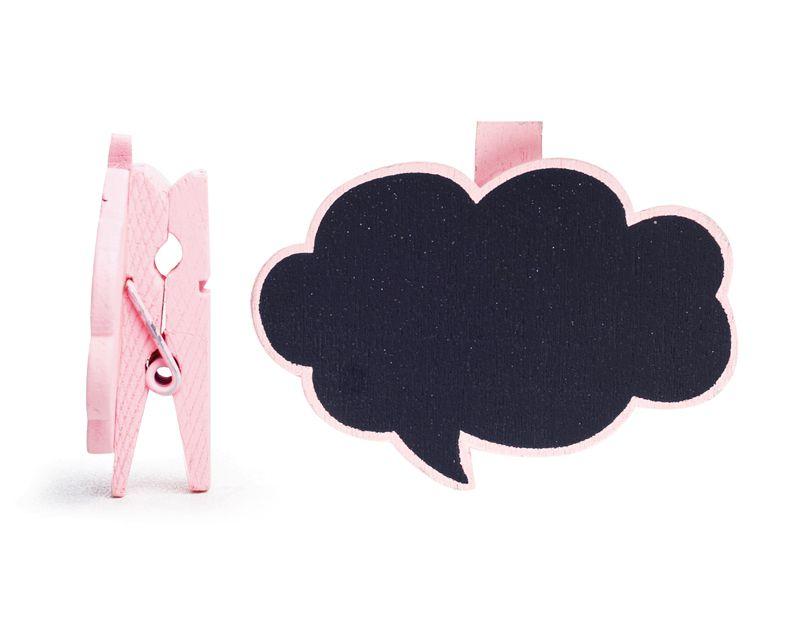 Lousa para Personalizar Prendedor Balão de Pensamento Rosa - 06 unidades - Cromus - Rizzo Festas