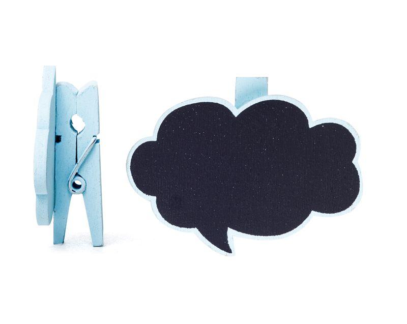 Lousa para Personalizar Prendedor Balão de Pensamento Azul - 06 unidades - Cromus - Rizzo Festas