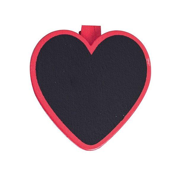 Lousa para Personalizar Prendedor Coração Vermelho - 06 unidades - Cromus - Rizzo Festas