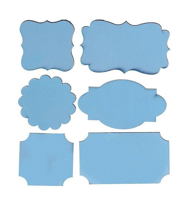 Lousa para Personalizar Adesiva Azul - 06 unidades - Cromus - Rizzo Festas