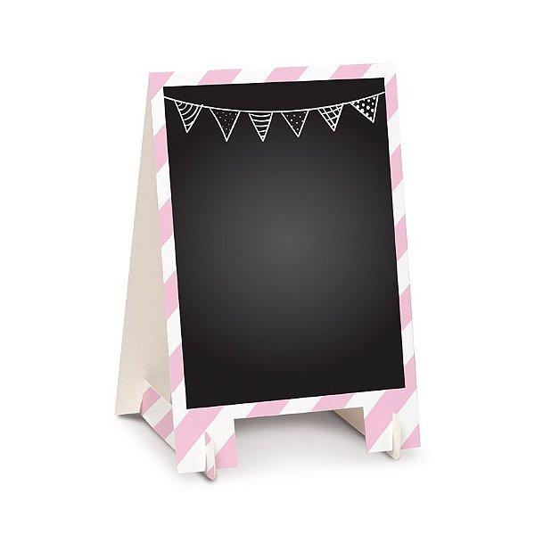 Lousa para Personalizar Cavalete de Papel Rosa P - 02 unidades - Cromus - Rizzo Festas