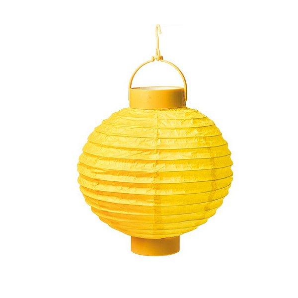 Lanterna de Papel Luminosa com Apoio Amarela 20cm - 01 unidade - Cromus - Rizzo Festas