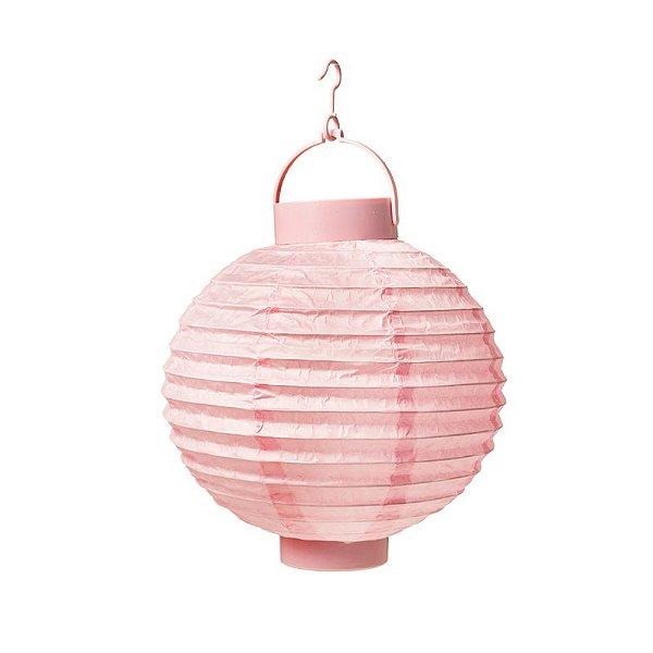Lanterna de Papel Luminosa com Apoio Rosa 20cm - 01 unidade - Cromus - Rizzo Festas