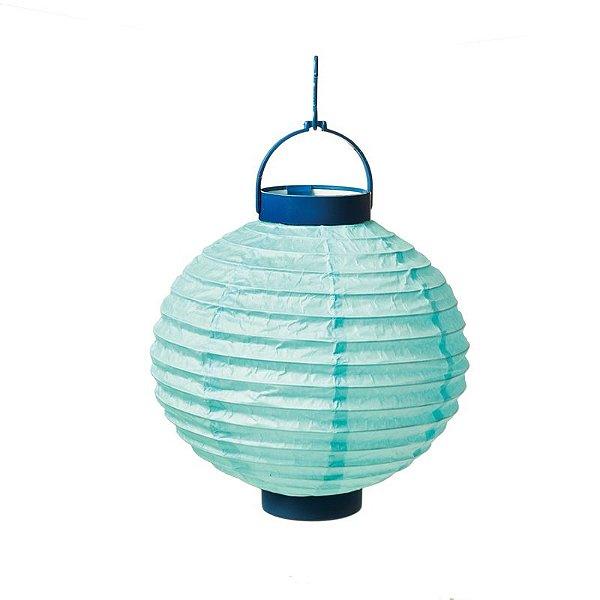 Lanterna de Papel Luminosa com Apoio Azul 20cm - 01 unidade - Cromus - Rizzo Festas