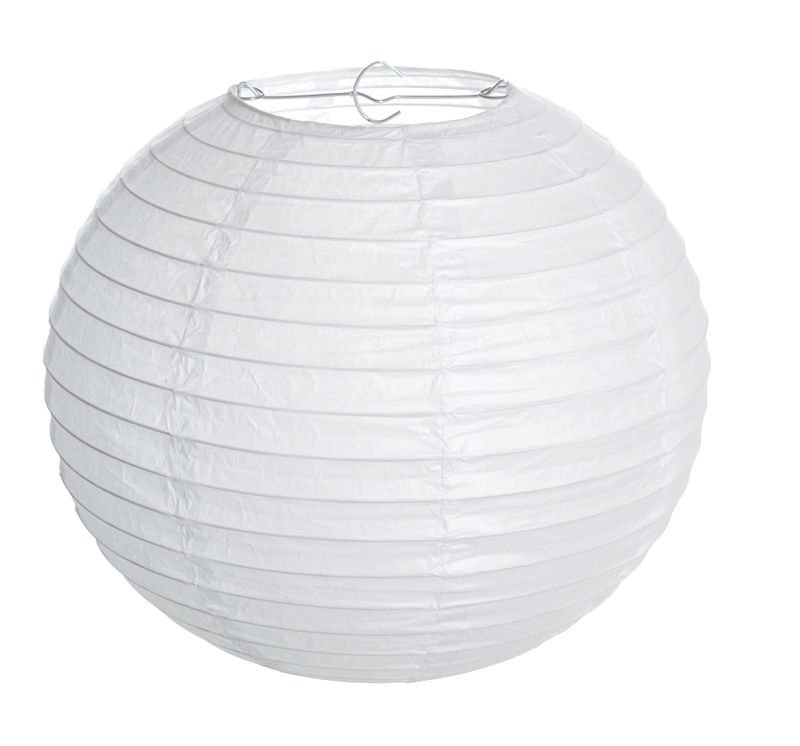 Lanterna de Papel Branco 30cm - 01 unidade - Cromus - Rizzo Festas
