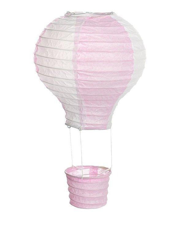 Lanterna de Papel Balão Rosa e Branco P 12x15cm - 01 unidade - Cromus - Rizzo Festas