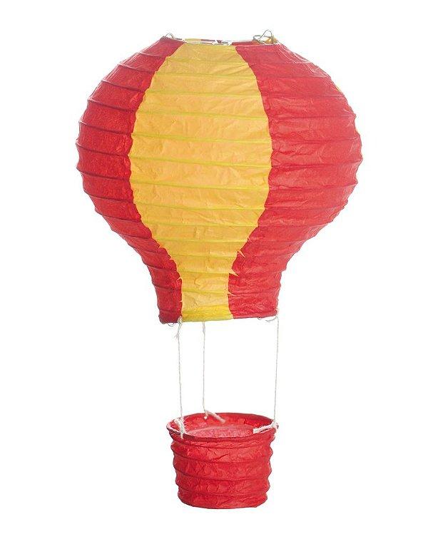 Lanterna de Papel Balão Amarelo e Vermelho M 25x25cm - 01 unidade - Cromus - Rizzo Festas