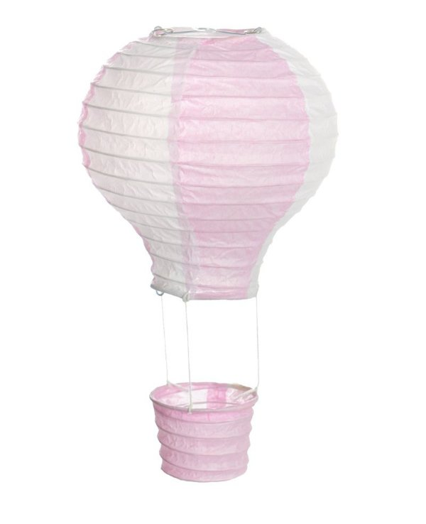 Lanterna de Papel Balão Rosa e Branco G 40x50cm - 01 unidade - Cromus - Rizzo Festas