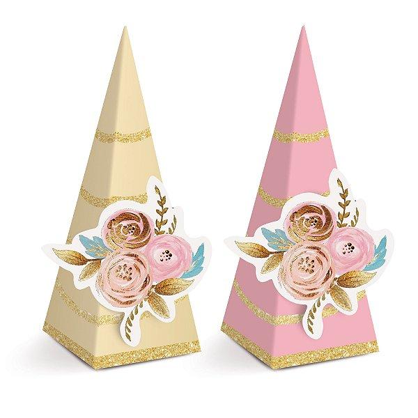 Caixa Mini Cone com Aplique Festa Unicórnio - 8 unidades - Cromus - Rizzo Festas