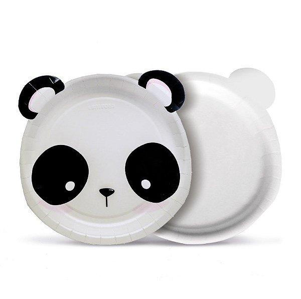 Prato Festa Panda 18Cm - 8 unidades - Cromus - Rizzo Festas