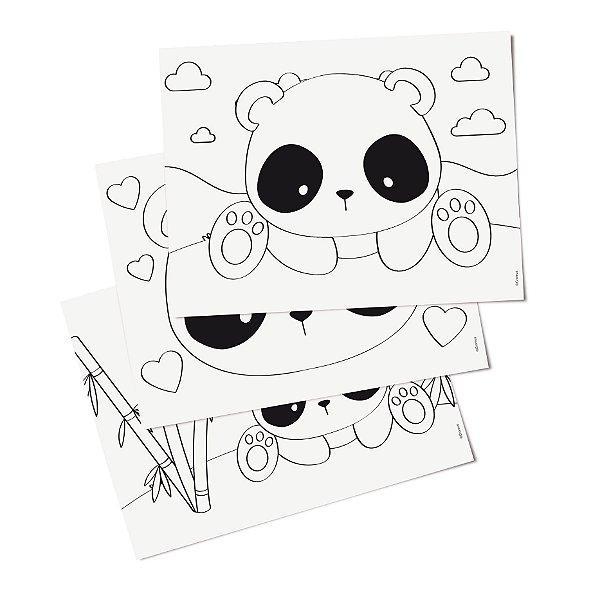 Folhas para Colorir Festa Panda - Cromus - Rizzo Festas