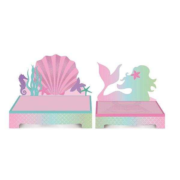 Kit Suporte para Doces Festa Sereia - 2 unidades - Cromus - Rizzo Festas