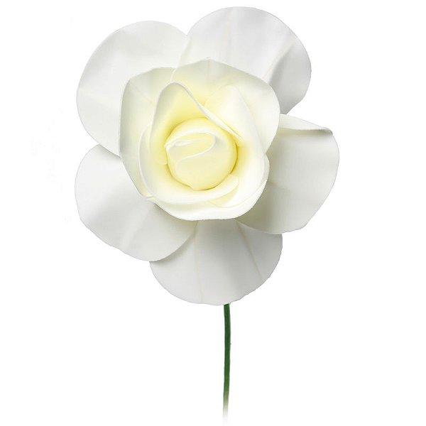 Flor Decorativa Branca 15cm - 01 unidade - Cromus - Rizzo Festas