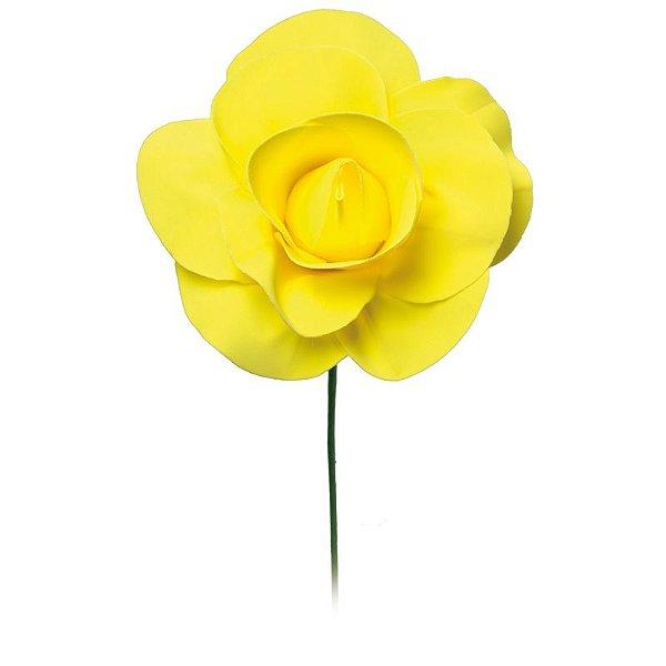 Flor Decorativa Amarelo 15cm - 01 unidade - Cromus - Rizzo Festas