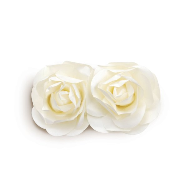 Flor Decorativa de Papel Branco 10cm - 02 unidades - Cromus - Rizzo Festas