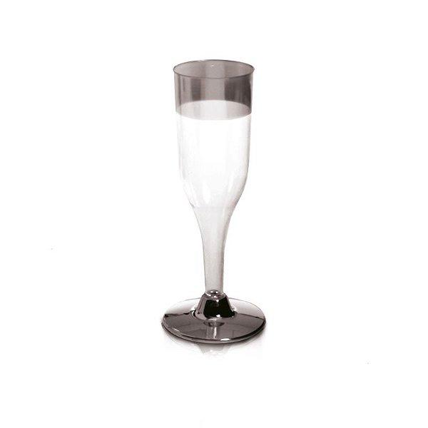 Taça de Champagne com Borda e Base Prata 156ml - 06 unidades - Descartáveis de Luxo - Cromus - Rizzo Festas