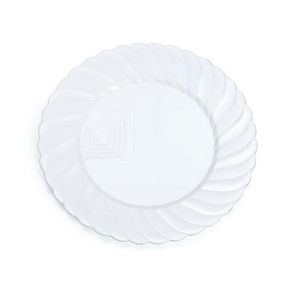 Prato Branco com Borda Fio Prata G 26cm - 06 unidades - Descartáveis de Luxo - Cromus - Rizzo Festas