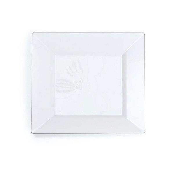 Prato Quadrado Branco com Borda Prata P 26cm - 06 unidades - Descartáveis de Luxo - Cromus - Rizzo Festas