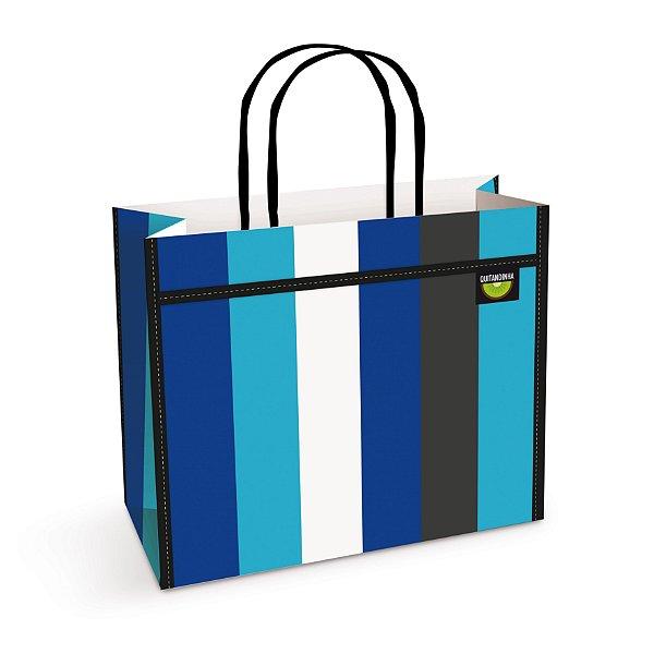 Sacola de Papel Listras Azul Festa Quitandinha - 10 unidades - Cromus - Rizzo Festas