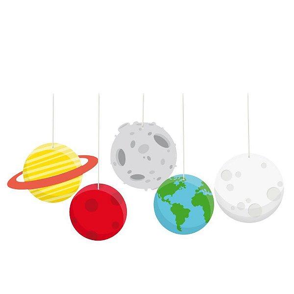 Móbiles Decorativos Festa Astronauta - 4 unidades - Cromus - Rizzo Festas