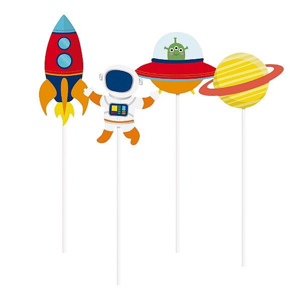 Pick Longo para Vaso Festa Astronauta - 8 unidades - Cromus - Rizzo Festas