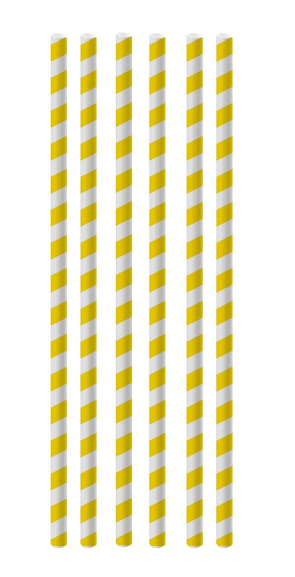 Canudo de Papel Listras Amarelo - 20 unidades - Cromus - Rizzo Festas