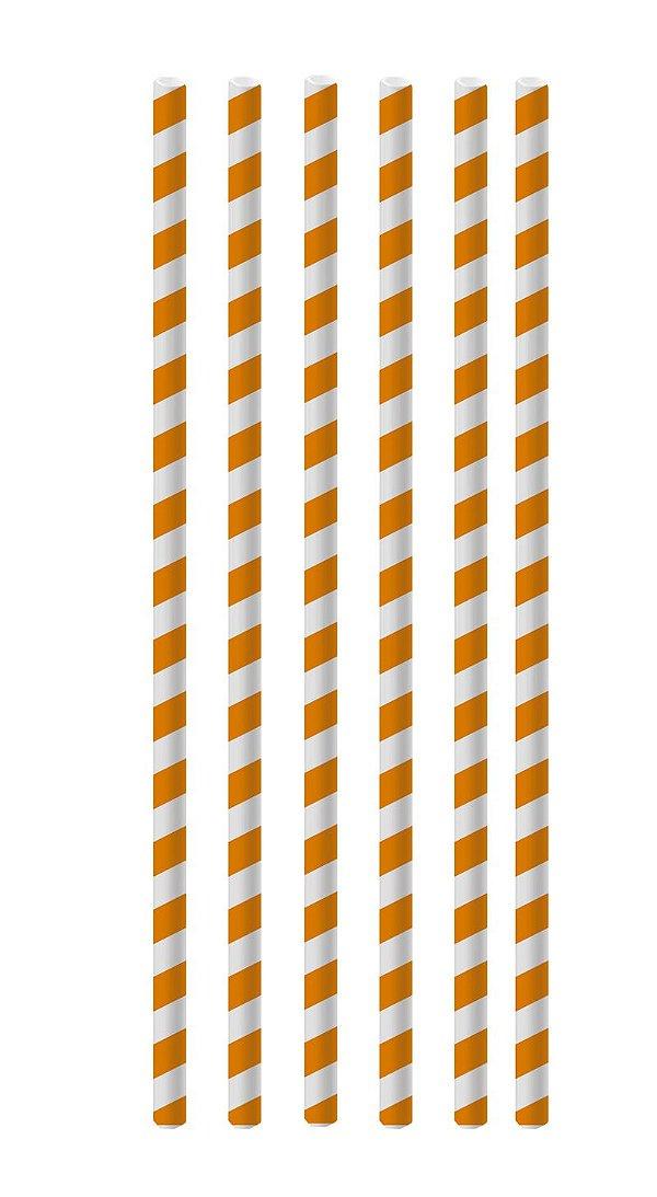 Canudo de Papel Listras Laranja - 20 unidades - Cromus - Rizzo Festas